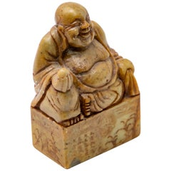 Chinese Soapstone with Shoushan Buddha Hand Carved Chop Seal