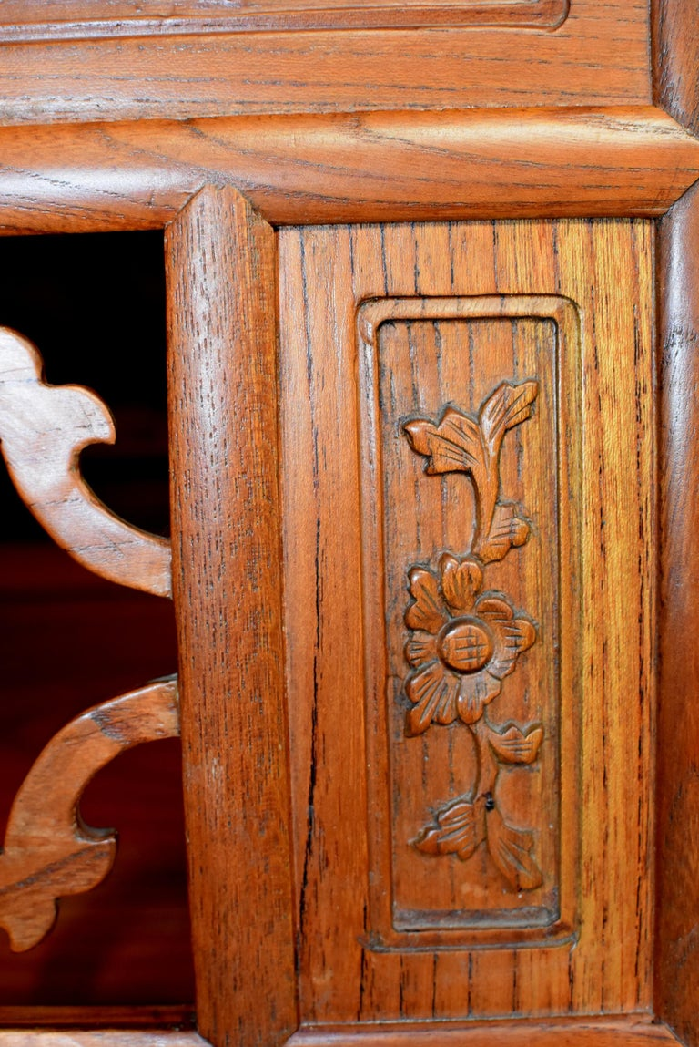 Chinese Solid Elm Jewelry Box with Carved Flowers For Sale 5