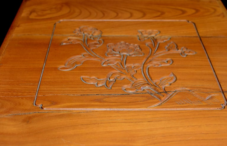 Chinese Solid Elm Jewelry Box with Carved Flowers For Sale 10