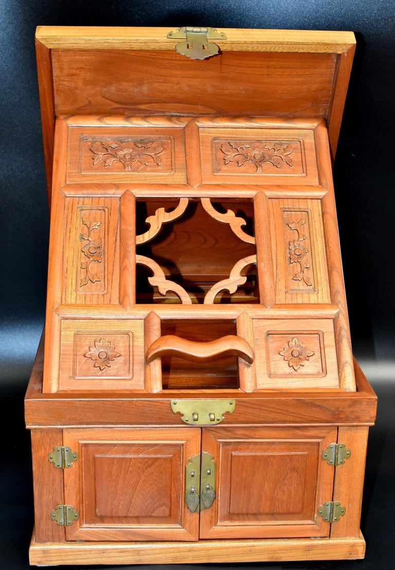 Joinery Chinese Solid Elm Jewelry Box with Carved Flowers For Sale