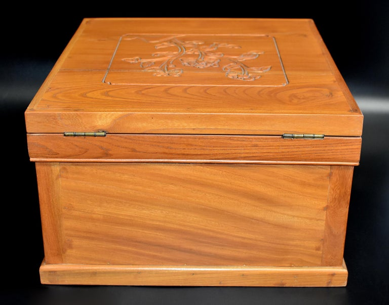 Chinese Solid Elm Jewelry Box with Carved Flowers For Sale 14