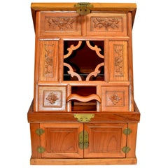 Chinese Solid Elm Jewelry Box with Carved Flowers