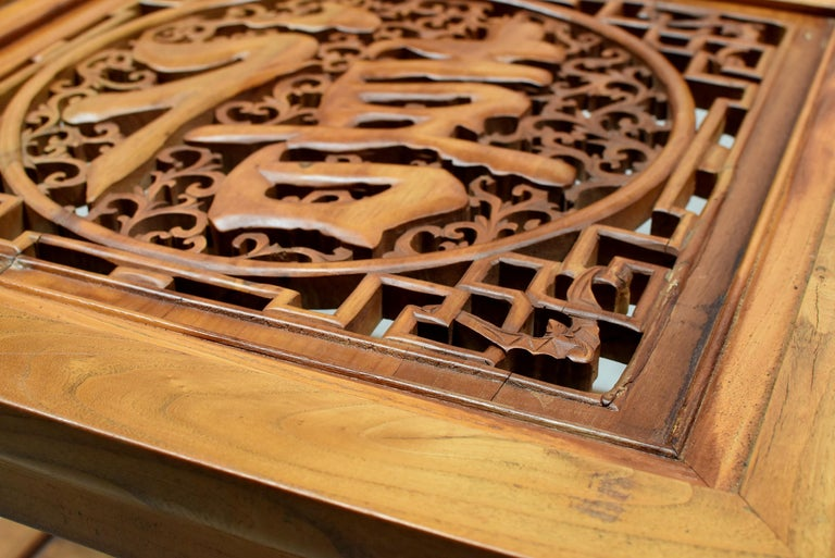 Asian Coffee Table Solid Wood Table with Carved Screen For Sale 6