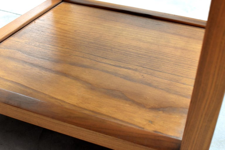 Asian Coffee Table Solid Wood Table with Carved Screen For Sale 11