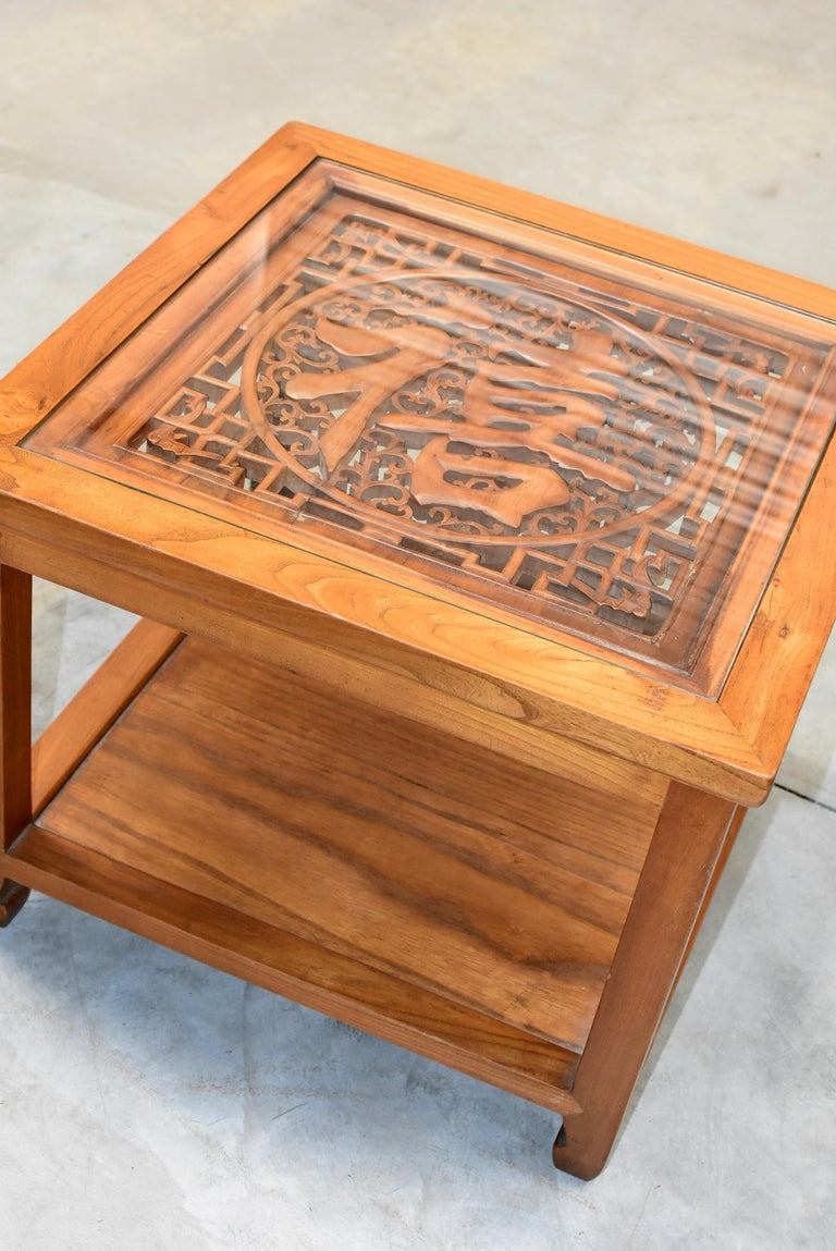 Hand-Carved Asian Coffee Table Solid Wood Table with Carved Screen For Sale