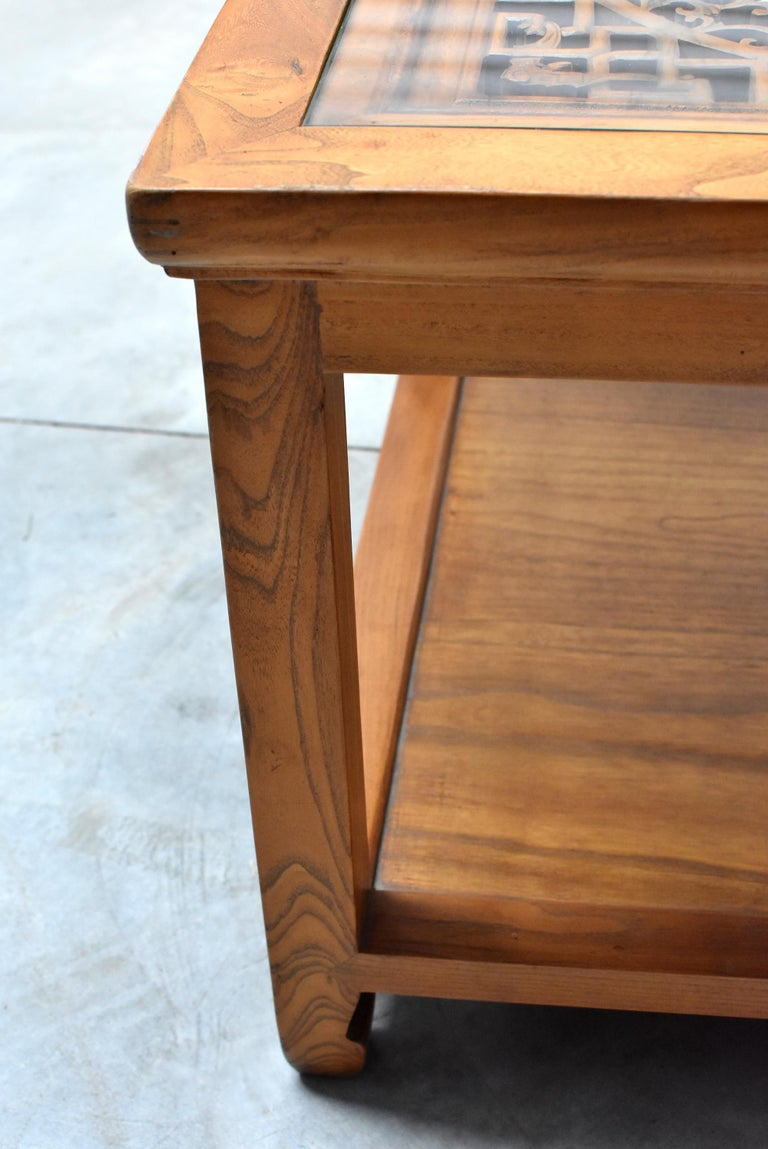 Asian Coffee Table Solid Wood Table with Carved Screen For Sale 1