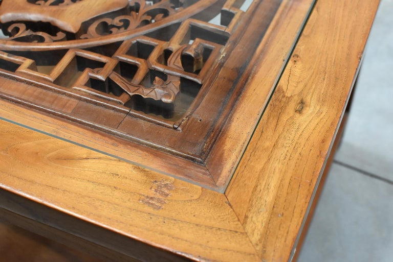 Asian Coffee Table Solid Wood Table with Carved Screen For Sale 2