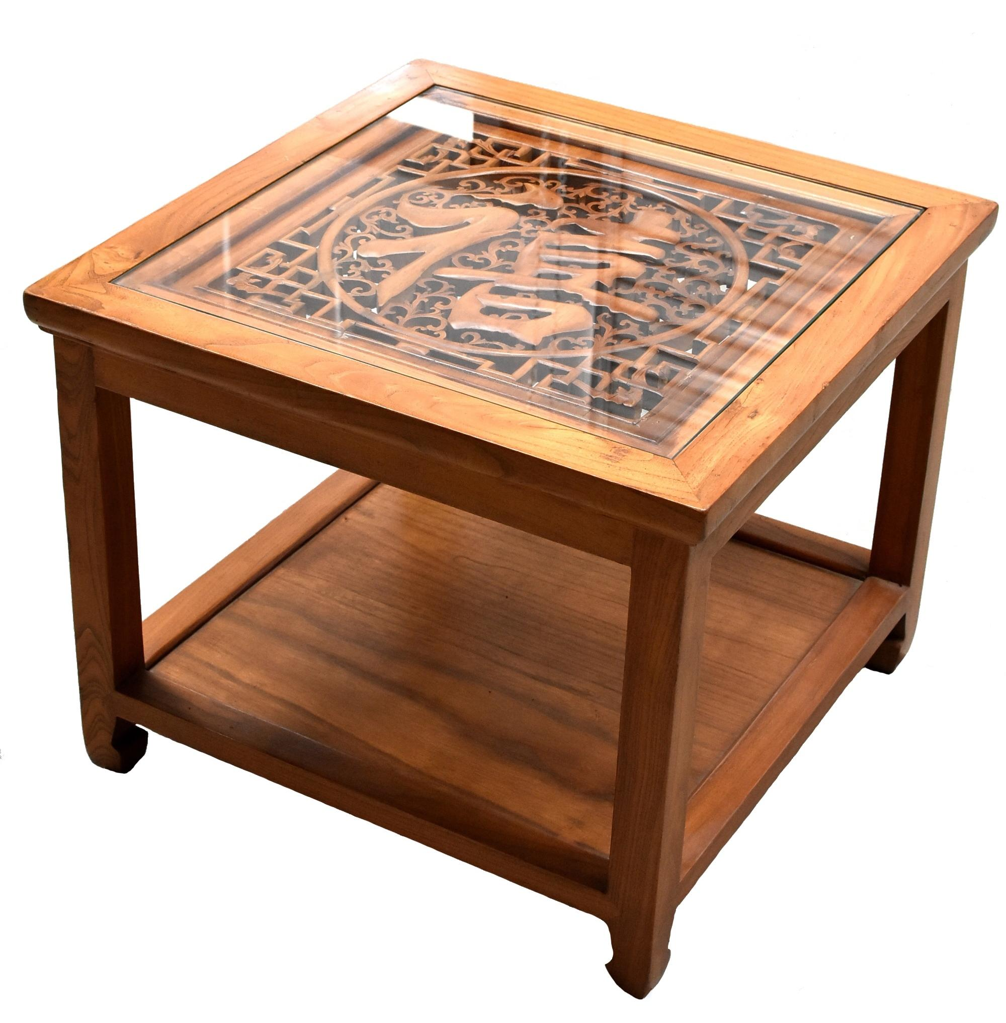 Chinese Solid Wood Coffee Table, Glass Side Table With Wood Carving
