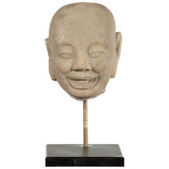 Chinese Song Dynasty Hand-Carved Limestone Head of a Lohan circa 960 to 1279 AD