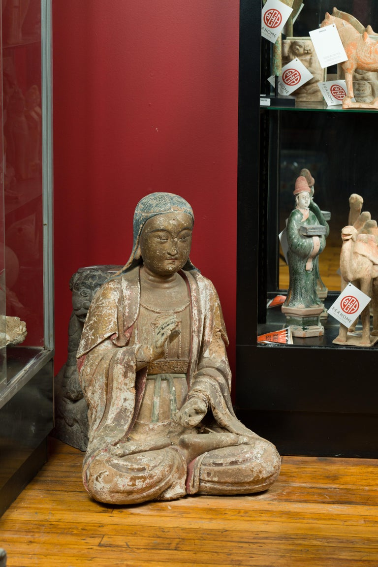 Chinese Song Dynasty Stucco Sculpture of Guanyin, Bodhisattva of Compassion For Sale 6