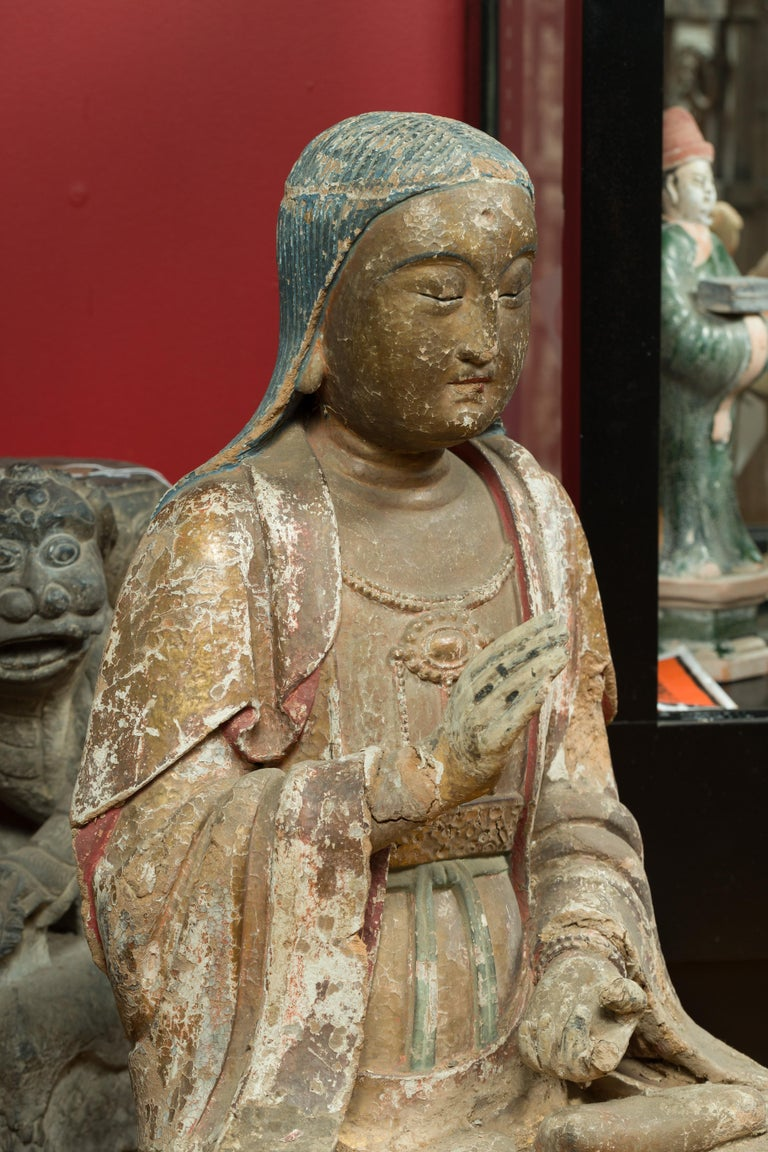 Chinese Song Dynasty Stucco Sculpture of Guanyin, Bodhisattva of Compassion For Sale 7