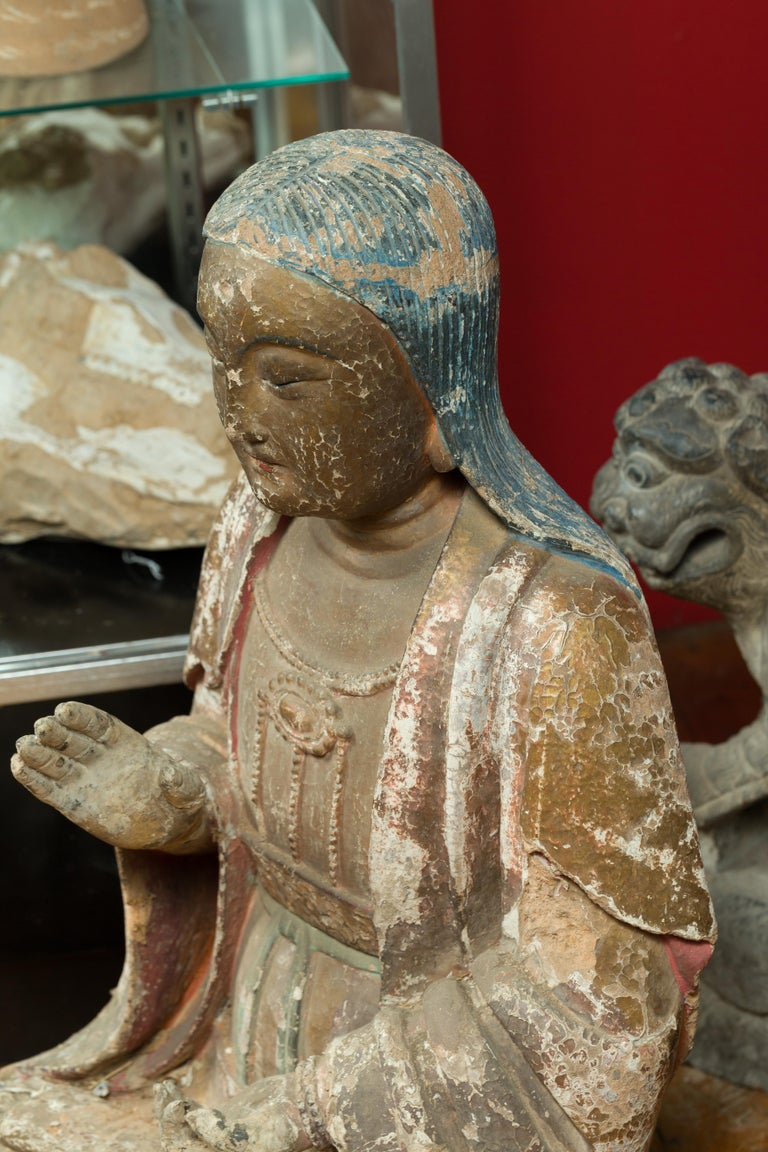 Chinese Song Dynasty Stucco Sculpture of Guanyin, Bodhisattva of Compassion For Sale 8