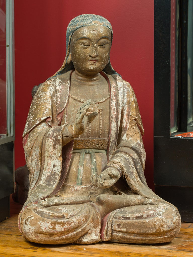 Chinese Song Dynasty Stucco Sculpture of Guanyin, Bodhisattva of Compassion In Good Condition For Sale In Yonkers, NY