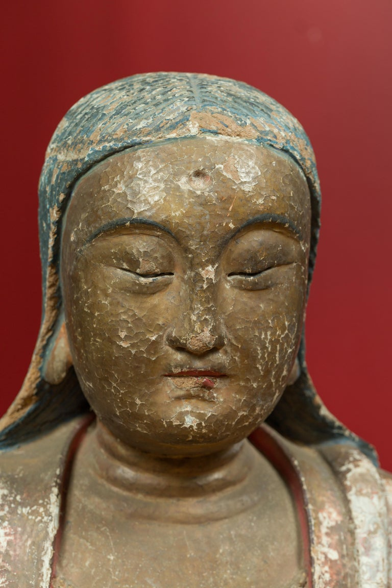 18th Century and Earlier Chinese Song Dynasty Stucco Sculpture of Guanyin, Bodhisattva of Compassion For Sale