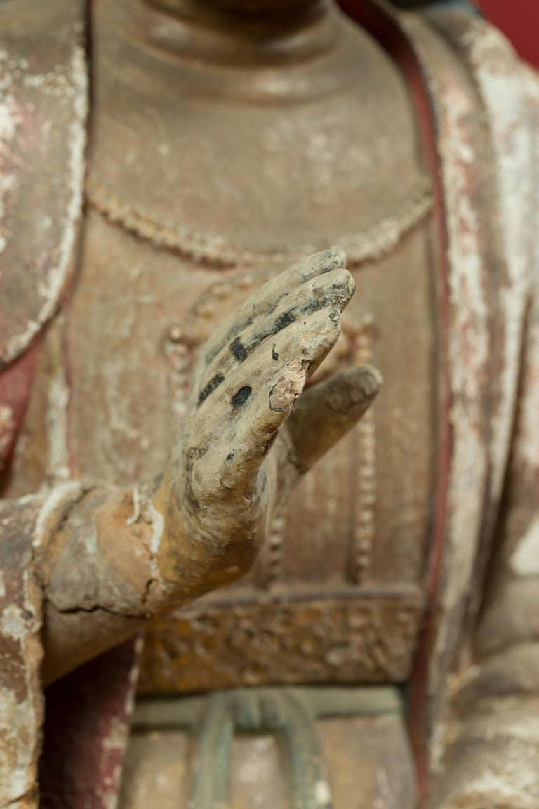 Chinese Song Dynasty Stucco Sculpture of Guanyin, Bodhisattva of Compassion For Sale 1