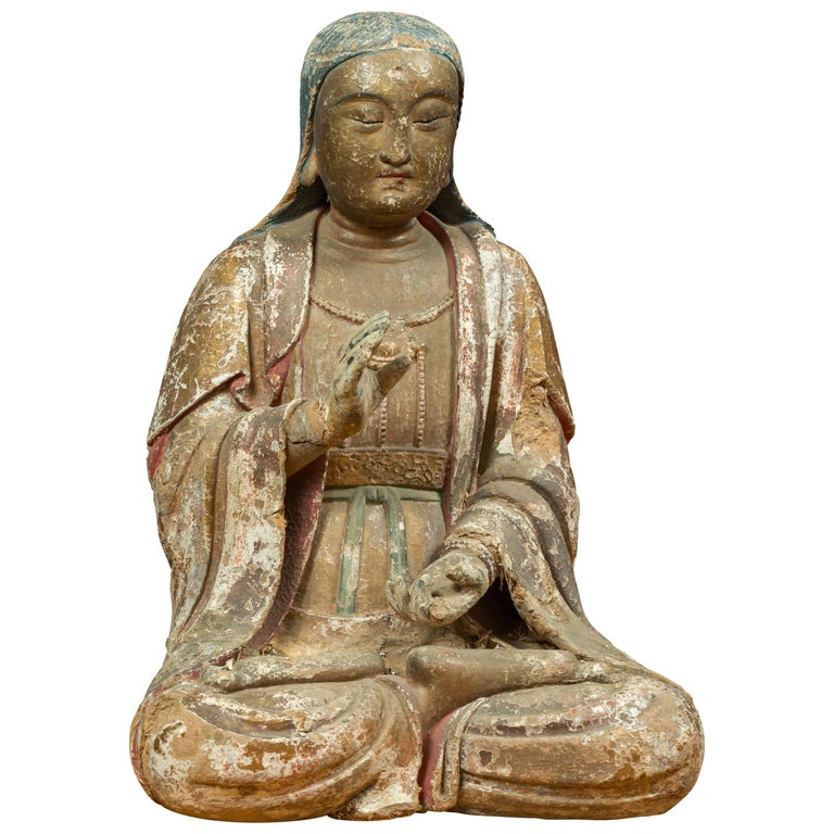 Chinese Song Dynasty Stucco Sculpture of Guanyin, Bodhisattva of Compassion For Sale