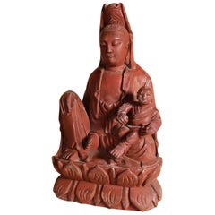 Chinese Songzi Guanyin Wood Carving with Secret Compartment Quan or Guan Yin