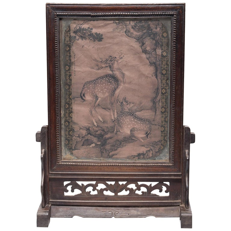 Chinese Spotted Deer Painting Fragment, Dated 1751 For Sale