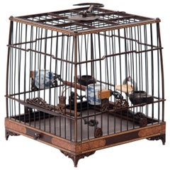 Chinese Square Bird Cage with Burl Inlay, circa 1850