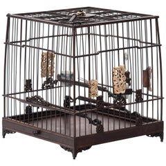 Chinese Square Bird Cage with Porcelain Waterpots, circa 1850