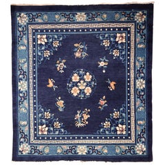 Chinese Square Blue Peking Floral Rug, Early 20th Century