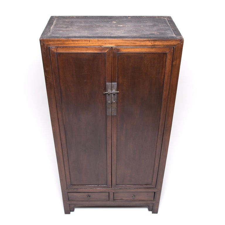 Brass Chinese Square Corner Scholar's Cabinet For Sale
