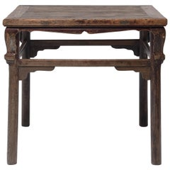 Chinese Square Display Table with Scroll Corners, circa 1850