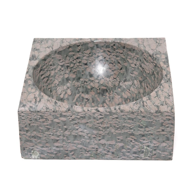 Hand-Carved Chinese Squared Zhenzhu Stone Basin For Sale