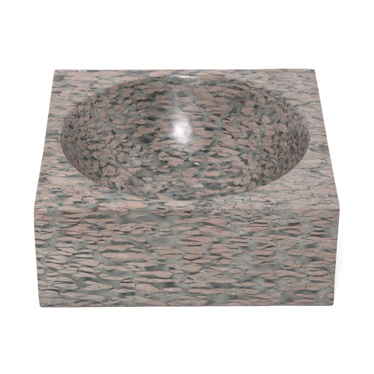 Chinese Squared Zhenzhu Stone Basin In Good Condition For Sale In Chicago, IL