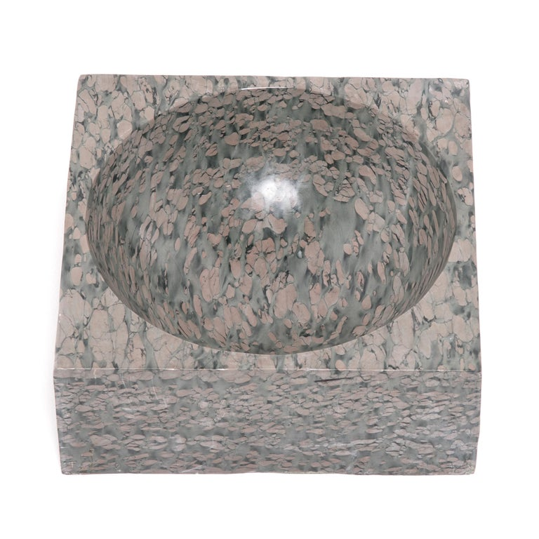 Contemporary Chinese Squared Zhenzhu Stone Basin For Sale