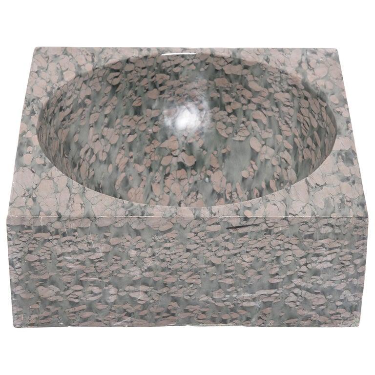 Chinese Squared Zhenzhu Stone Basin For Sale