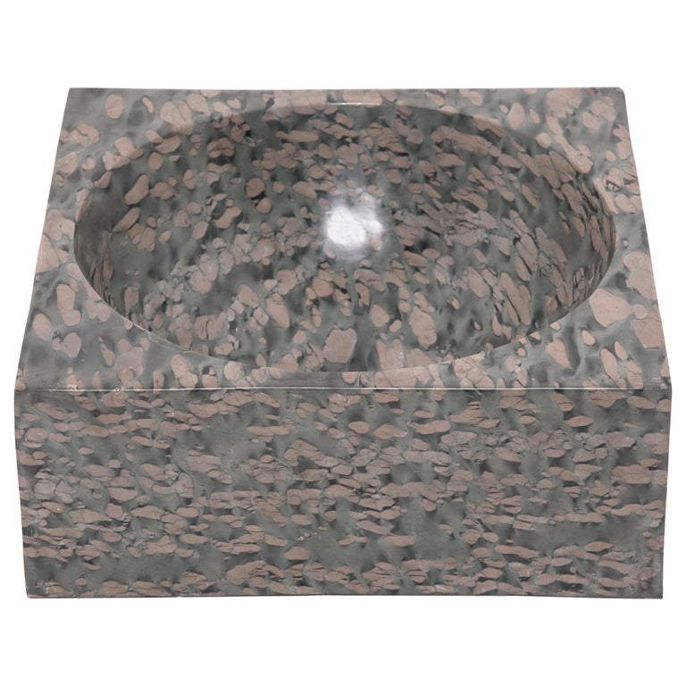 Chinese Squared Zhenzhu Stone Basin For Sale