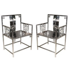 Chinese Stainless Steel Armchairs, Contemporary