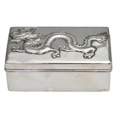Chinese Sterling Silver Box and Cover circa 1900, Hallmarked and Stamped WH90