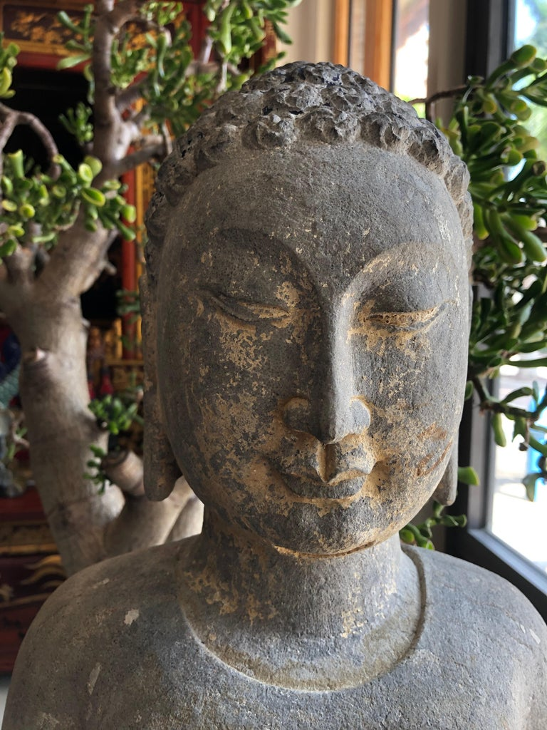 Chinese Export Chinese Stone Carved Buddha For Sale