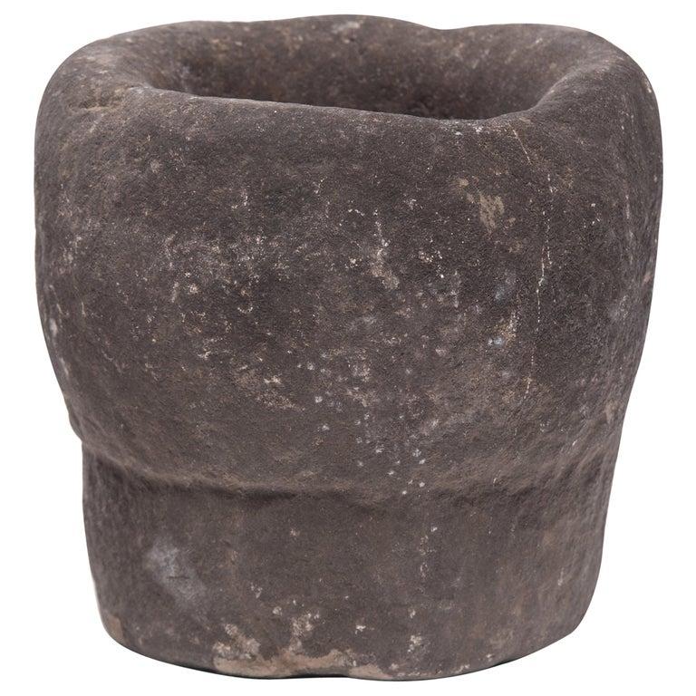 Chinese Stone Garlic Mortar, circa 1900 For Sale