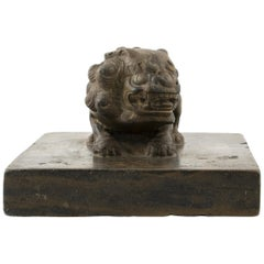 Chinese Stone Shoemaker's Weight with Foo Dog