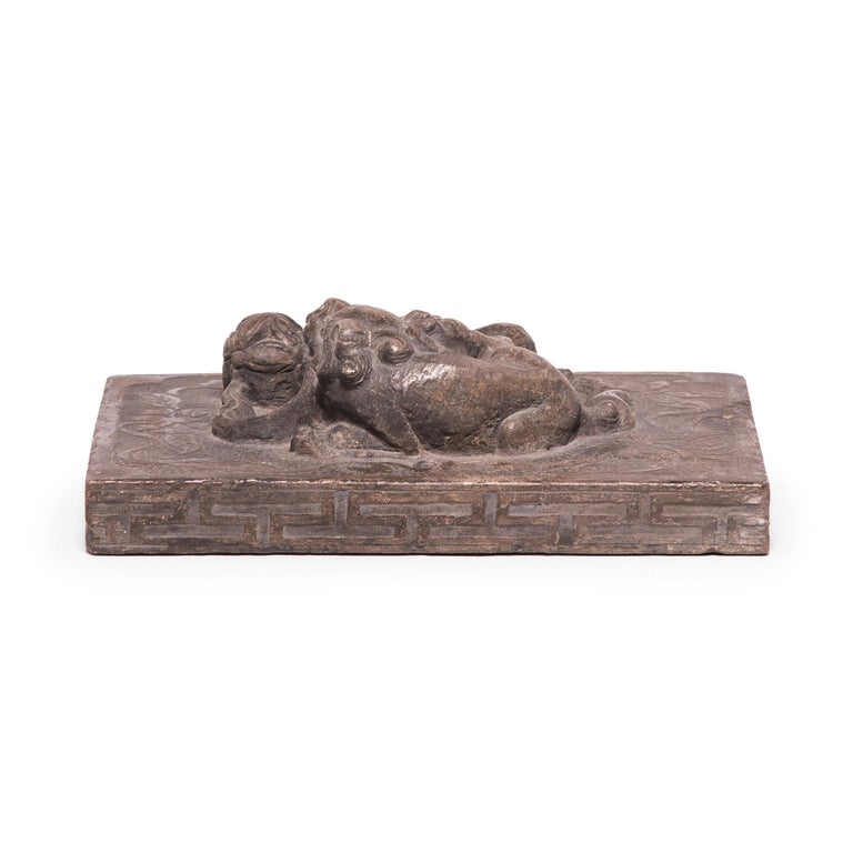 Hand-Carved Chinese Stone Shoemaker's Weight with Mother, Cub, and Embroidered Ball For Sale