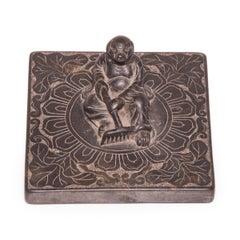 Chinese Stone Shoemaker's Weight with Zhu Bajie