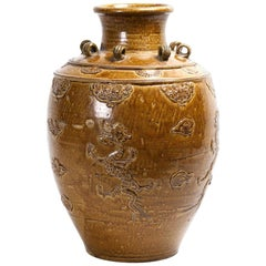 Chinese Stoneware Storage Martaban Jars with Dragon Relief
