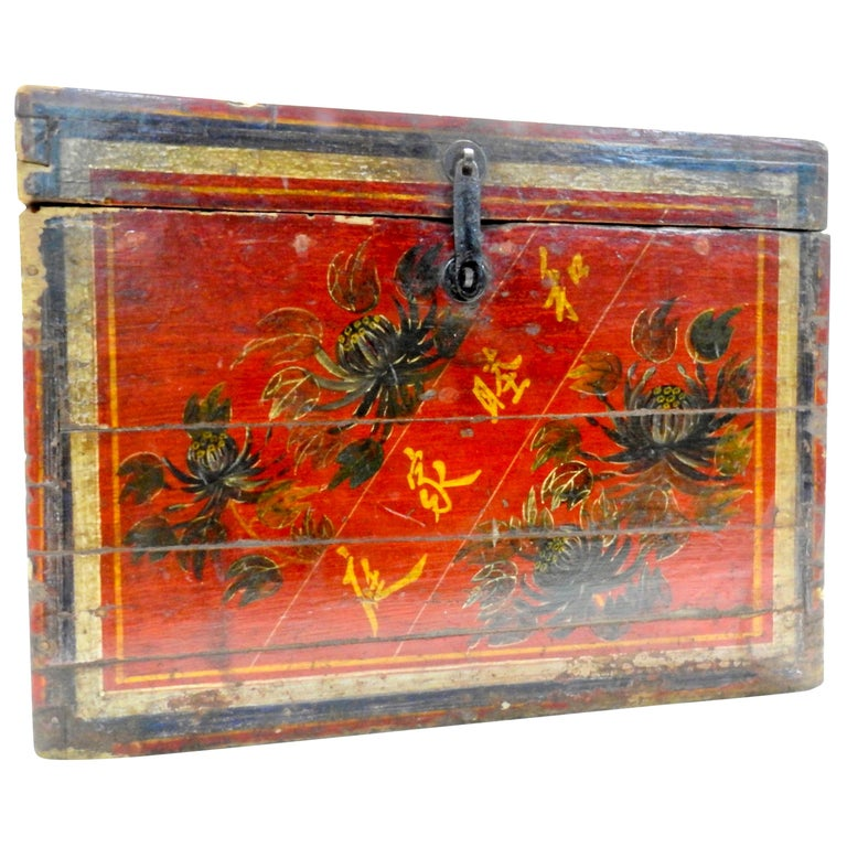 Chinese Storage Chest Hand Painted, Late 19th Century For Sale