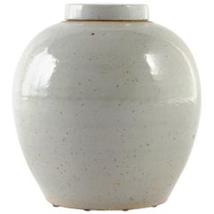 Chinese Storage Urn in Pitted Pale Celadon Glaze