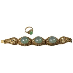 Chinese Style 835 Silver Gold Vermeil Filigree Bracelet&Ring with Jade Cabochons