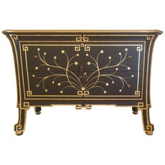 Chinese Style Black and Gold Commode with Ornamentations