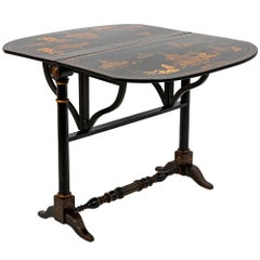 Chinese Style Leaf Table in Black Lacquered Wood, 19th Century