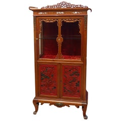 Chinese-Style Mahogany and Beijing Lacquer Display Case, End of 19th Century