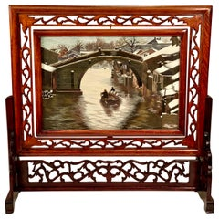 Chinese Su Double Sided Silk Embroidery Landscape Work of Art in Rosewood Frame
