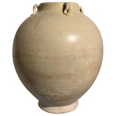 Chinese Sui Dynasty White Glazed Jar with Loop Handles, 6th-7th Century
