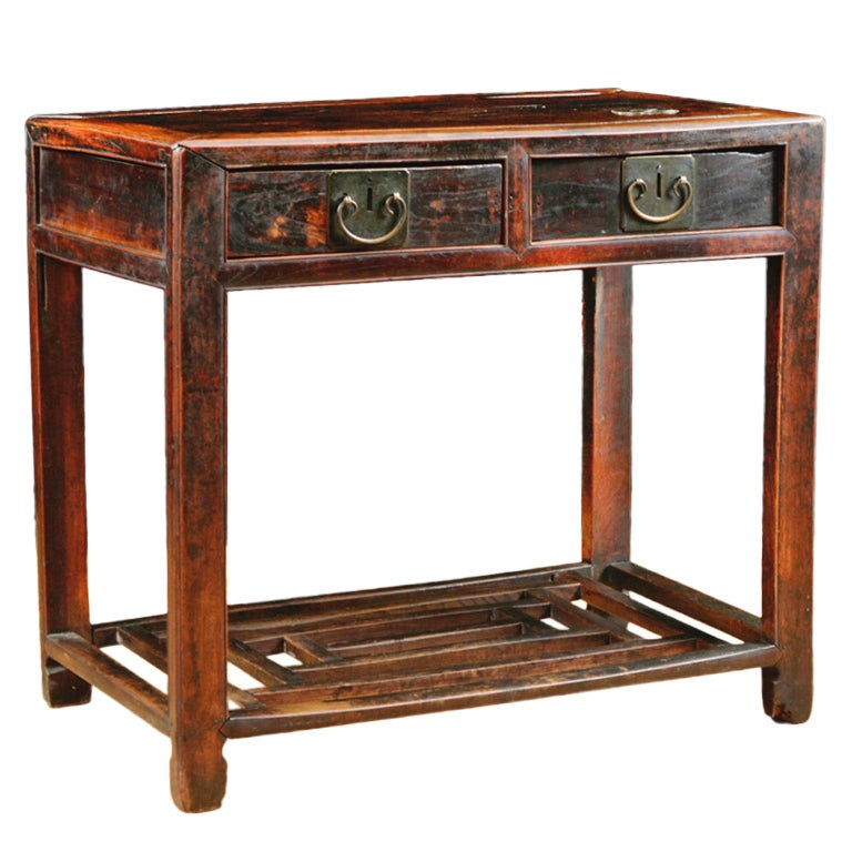 Chinese Table in Elm with Original Cinnabar Lacquer, circa 1790 Qing Dynasty For Sale