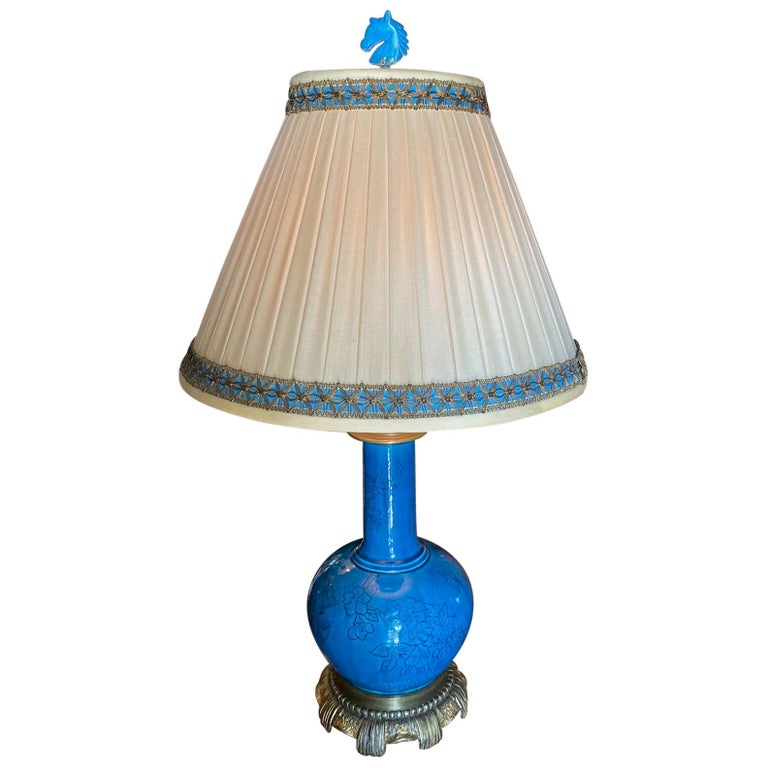 18th C. Table Lamp Ceramic Baluster Chinese blue Vase & Shade Finial Antiques LA For Sale